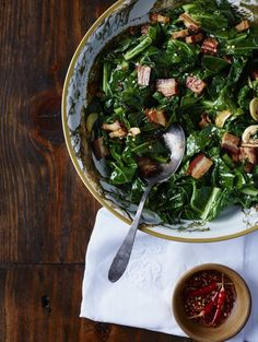 Collard Greens with Lardons and Smoked Onion Jam from Chef Joseph Lenn of Blackberry Farm