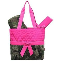 Camo Quilted Diaper Bag-Hotpink.