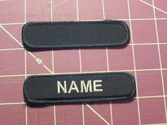 "Custom Embroidered Name Patch, Black 1"" x 4""  -  Made in the USA"