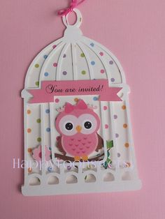 What a perfect way to welcome a beautiful little girl ! Set of 8 beautiful Hand made Owl baby shower invitations. Each invitation comes with an