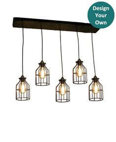 Reclaimed Wood Chandelier - 5 Cage Pendants