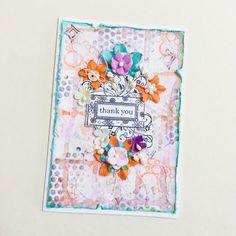 #thankyoucard #handmadecard #primaflowers #mixedmediacard #mixedmedia #diycard #cards