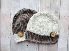 Baby Hat, Twin Beanies, Brown and Wheat, Handmade Wooden Button, Newborn Hat, Shabby Chic Hippie Style Baby Photo Prop