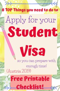Are you considering studying in Austria or Europe? What do you need for your visa? These are the 8 top things you need to do to apply for your student visa. So you can prepare with time for your visa application. College Hacks, College Life, Passport Number, Going Back To College, Acceptance Letter, Learn German, Learn A New Language, Health And Fitness Tips, Feeling Overwhelmed