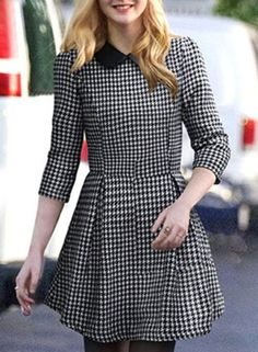 Stylish Women's 3/4 Sleeve Houndstooth A-Line Dress