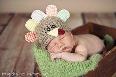 Newborn Turkey Hat ... Thanksgiving Baby Hat ... Newborn Thanksgiving Prop .. Fall Baby Prop ... Gobbles the Turkey .. NEWBORN. $42.00, via Etsy.