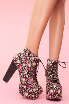Lita Platform Boot - Floral (in Black Floral), by Jeffrey Campbell