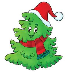 Tree with christmas hat theme 1 vector Christmas Doodles, Christmas Clipart, Christmas Ornaments, Christmas Paintings On Canvas, Christmas Canvas, Christmas Rock, Christmas Crafts For Kids, Alternative Disney Princesses, Christmas Characters