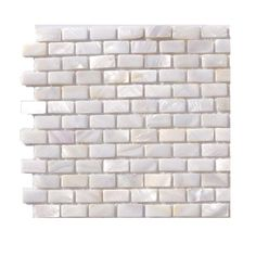 Splashback Tile Pitzy Brick Castel Del Monte White Pearl Tile Mini Brick Pattern - 6 in. x 6 in. x 2 mm Floor and Wall Tile Sample-R3D5 - The Home Depot