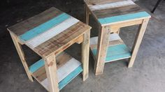 Pallet Tables Pallet Nightstands / Side Tables - Get this mini pair of pallet nightstands or side table, a whole creative pallet furniture for those who are interested in DIY projects! Wooden Pallet Projects, Pallet Crafts, Wooden Pallets, Pallet Ideas, Pallet Furniture, Furniture Projects, Home Projects, Bedroom Furniture, Palette Deco