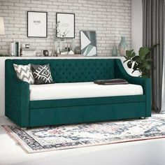 Willa Arlo Interiors Elof Twin Daybed & Reviews | Wayfair Full Daybed With Trundle, Daybed With Storage, Trundle Mattress, Upholstered Daybed, Daybed Couch, Diy Daybed, Upholstered Sofa, High Fashion Home, Bed Sizes