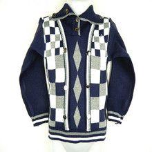 Áo khoác len bé trai dài tay cá tính, caro phối màu dễ thương, cá tính