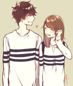 Find images and videos about couple, anime and kawaii on We Heart It - the app to get lost in what you love. Couple Amour Anime, Couple Anime Manga, Anime Love Couple, Cute Anime Couples, Anime Guys, Manga Anime, Love Drawings Couple, Manga Romance, Anime Amor
