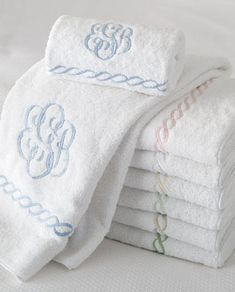 beautiful bath towels with monogram each towel sets has our own initials on them - Matouk Towels