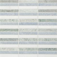 Pacifica Linea Mosaic | Artistic Tile - Stacked marble stick mosaic featuring Azul Cielo, Min Green and Thassos marble