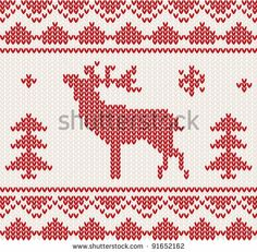 Christmas Knitted background with deer, trees and ornament by Boobl, via Shutterstock