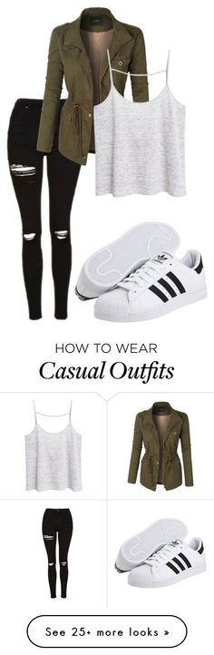 """Casual #286"" by dancing203 on Polyvore featuring Topshop, LE3NO, MANGO and adidas Originals"