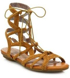 Looping braided suede straps style boho-chic sandal. Joie Flynn Suede Lace-Up Flat Sandals