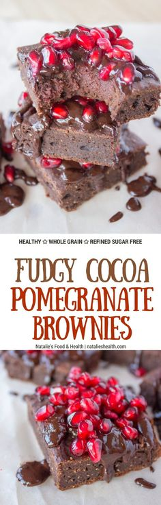 Full of luxurious dark chocolate flavor, made with all HEALTHY ingredients these Fudgy Cocoa Pomegranate Brownies are the pure cocoa pleasure. Soft and fudgy, enriched with warm aromatic spices, this melt in your mouth dessert will surely delight you. #ch http://healthyquickly.com