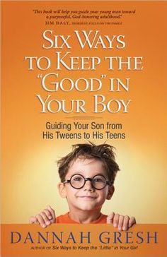 A boy's relationship with his mom during the formative age between 8 and 12 is vital to his future well-being. Gresh's practical experience and research, along with advice from her husband, Bob Gresh, provide a mom with six proactive ways to help her son to be honest, confident, and respectful.  (available at Books a Million . . . $11)
