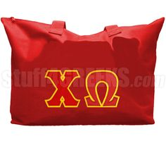 CHI OMEGA TOTE BAG WITH GREEK LETTERS, RED  Item Id: PRE-TOTE-CW-BASIC-LTR-RED    Price: $39.00