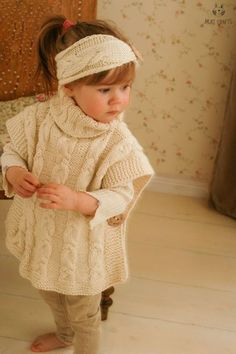 This is knitting pattern for SET of two items: poncho Robyn and headband with braided cables. The poncho is one-piece knitted with medium weight yarn. Perfect poncho for a little boy or girl add a ma Baby Knitting Patterns, Knitting For Kids, Knitting Stitches, Free Knitting, Knitting Projects, Crochet Patterns, Knitted Poncho, Hooded Poncho, Baby Sweaters