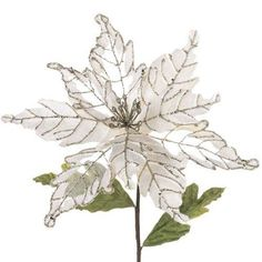 RAZ Imports - Cream Colored Poinsettia With Silver Accents 23""