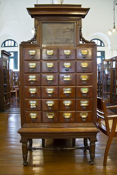Old dewey decimal system cabinet by Keith Kelly Neilson Hays Library, Bangkok Dewey Decimal System, Library Card, Book Nooks, Reading Nooks, Antique Furniture, Dream Furniture, Fine Furniture, Cubbies, Architecture