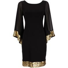 Black Kimono Sequin Dress ($52) found on Polyvore