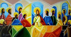 Last Supper on Pop-art - oil on canvas Arte Pop, Religious Icons, Religious Art, Last Supper, Jesus Pictures, Sacred Art, Christian Art, Art Oil, Printable Art