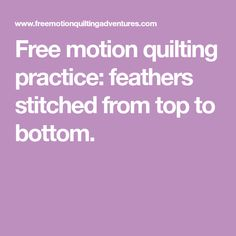 Free motion quilting practice: feathers stitched from top to bottom.
