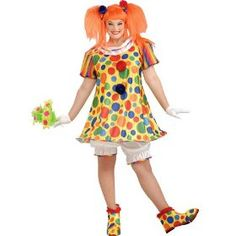 Clown Plus Size Costumes for women. Dress up for Halloween or the kids birthday party in these great plus size clown costumes. All plus sizes and great designs. Plus Size Clown Costumes, Clown Costume Women, Clown Wig, Plus Size Costume, Circus Costume, Fancy Costumes, Adult Costumes, Costumes For Women, Circus Clown