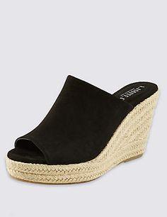 afb6475745c63 Van Dal Epsom Black Suede Sandal. See more. Peep Toe Espadrille Mule with  Insolia® Peep Toe Espadrilles, Wedge Sandals, Uk College