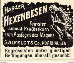 Werbung - Original-Werbung/ Anzeige 1902 - HARZER HEXENBESEN KRÄUTERKORN / SALFELDT - NORDHAUSEN - ca. 45 x 40 mm