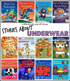 rubberboots and elf shoes: underwear books, I didn't know there were so many. We have read some but I'll look for the others. Preschool Books, Kids Learning Activities, Preschool Literacy, Toddler Books, Childrens Books, Potty Training Boys, Toilet Training, Elf Shoes, Books For Teens