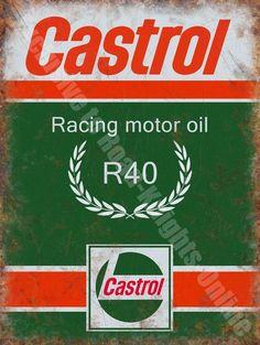 79a18c66628 Castrol R Racing Motor Oil, 135 Petrol Old Vintage Garage, Large Metal/Tin  Sign