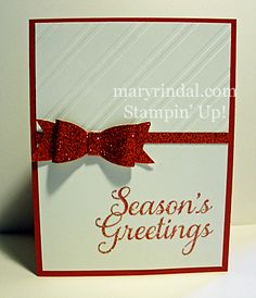 Seasons Greetings with Glitter Paper Bow whisper white ,real red red glimmer paper, stripes EF Christmas Cards 2017, Stamped Christmas Cards, Christmas In July, Xmas Cards, Greeting Cards, Christmas Stuff, Embossed Paper, Joy To The World, Winter Cards