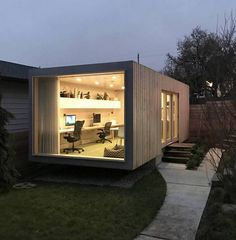Container Office by Architect Randy Bens # office # architecture Converted Shipping Containers, Prefab Shipping Container Homes, Shipping Container Office, Shipping Container Conversions, Shipping Container Home Designs, Container House Design, Shipping Container Interior, Shipping Container Workshop, Container Buildings