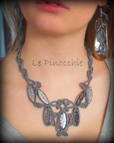 Le Pinocchie - italian craft blog - lovely macrame necklace and earrrings