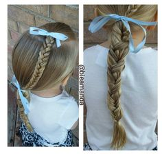 """Loving the ribbon in hair something about it feels so springy! Fishtail into low pony tail with a loony fishtail braid!"""