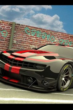 Black and red Chevy Camero