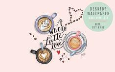 Hand Illustrated Coffee art for desktop wallpaper Floral Wallpaper Desktop, Office Wallpaper, Macbook Wallpaper, Trendy Wallpaper, Love Wallpaper, Wallpaper Iphone Quotes Backgrounds, Desktop Wallpapers, Macbook Hacks, Macbook Pro