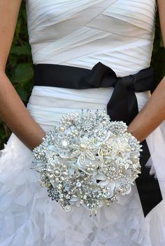 brooch bouquet... Crystal here is a DIY website.. http://blushink.com/diy-brooch-bridal-bouquet/