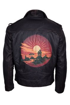 Hand-painted #vintage Levi's leather jacket