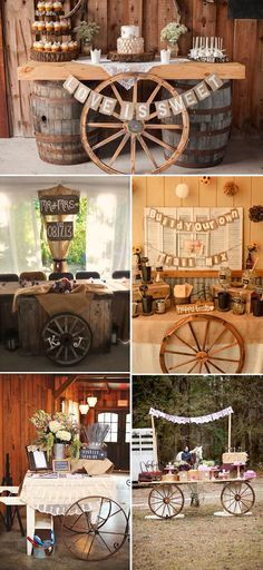 decorate your wedding dessert tables with old wagon wheels