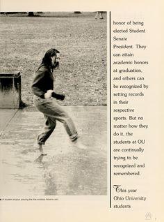 "Athena Yearbook, 1997. ""A student enjoys playing the the endless Athens rain."" :: Ohio University Archives"