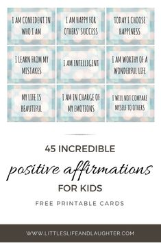 Incredible Positive Affirmations for Kids Free Printable Affirmation Cards! Positive affirmations for kids, teens, or adults. Positive affirmations for kids, teens, or adults. Words Of Affirmation, Positive Affirmations For Kids, Positive Words, Mindfulness For Kids, Mindfulness Activities, Meditation Kids, Mindfulness Meditation, Bingo, Young Adults
