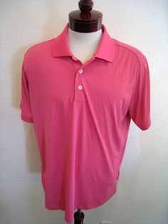 Adidas Golf Shirt Pink Tailored Performance Pique Blocked Polo Men's L NWT #adidas #PoloShirt