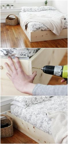 Easy & Simple Wooden Bed Frame - 50 DIY Furniture Projects with Step by Step Plans