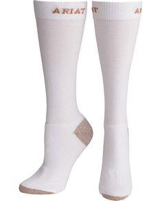 Ariat Women's White Heavy Duty Over-The-Calf Sport Socks